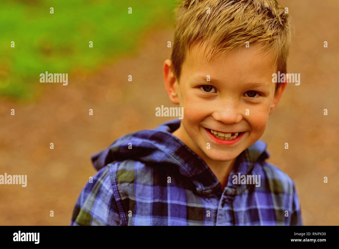 My childhood is great honestly. Happy boy. Small boy happy smiling. Small child enjoy childhood fun. Carefree days - Stock Image