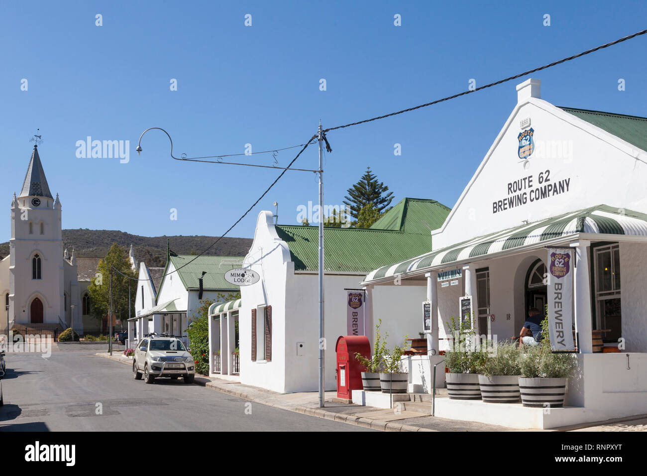 Church Street, Montagu,  Langeberg, Western Cape, South Africa with historic colonial architecture and Route 62 Brewing company , micro brewery, exclu - Stock Image
