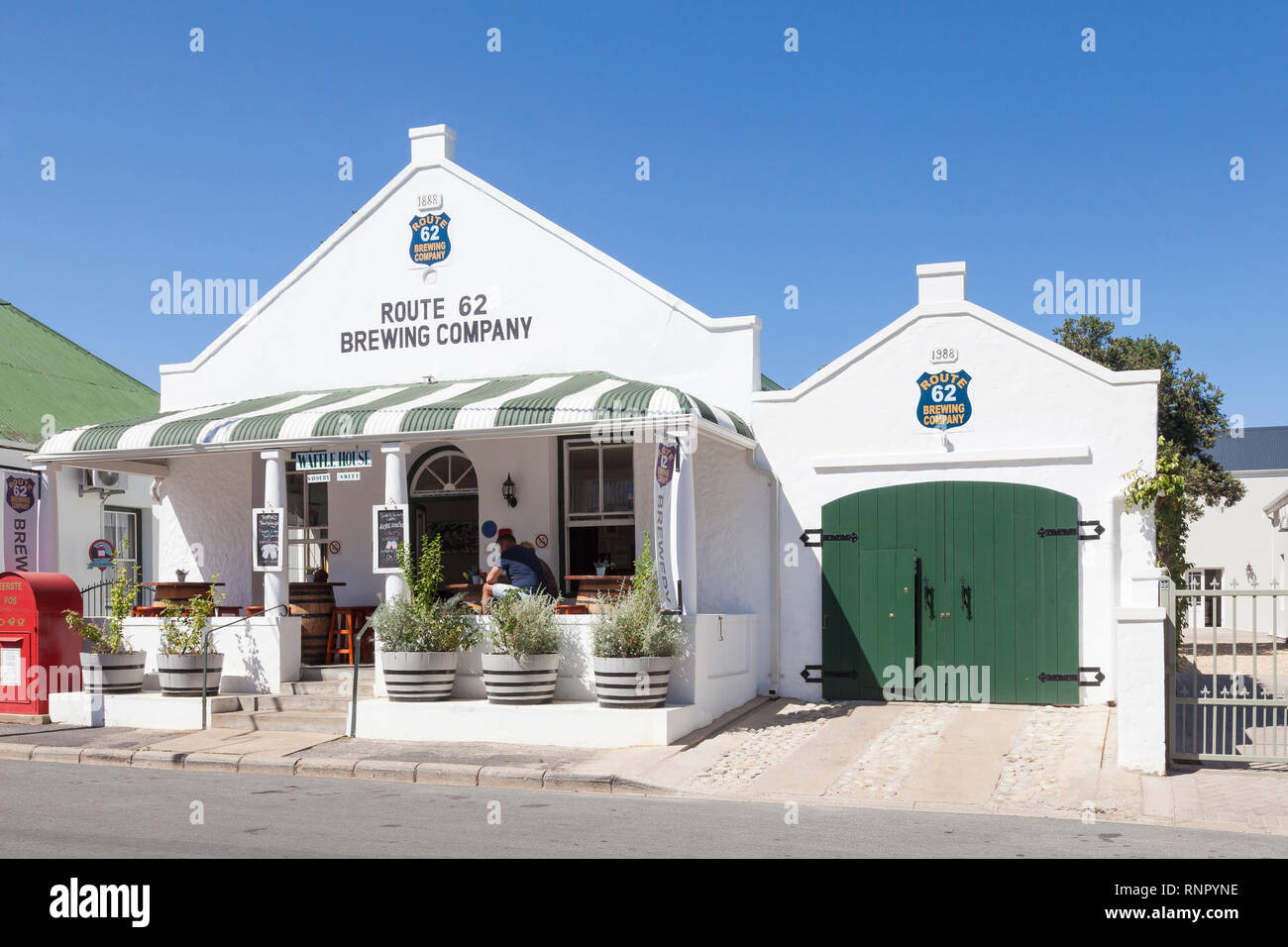 Route 62 Brewing Company, craft beer micro brewery and waffle house, Montagu, Western Cape, South Africa on the Beer Route through the Langegberg - Stock Image