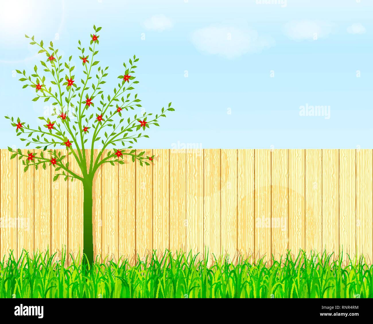 Backyard garden vector background Stock Vector Art