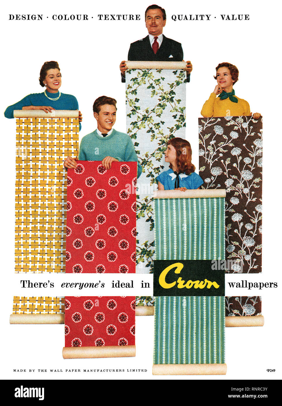 1956 British advertisement for Crown Wallpapers. - Stock Image