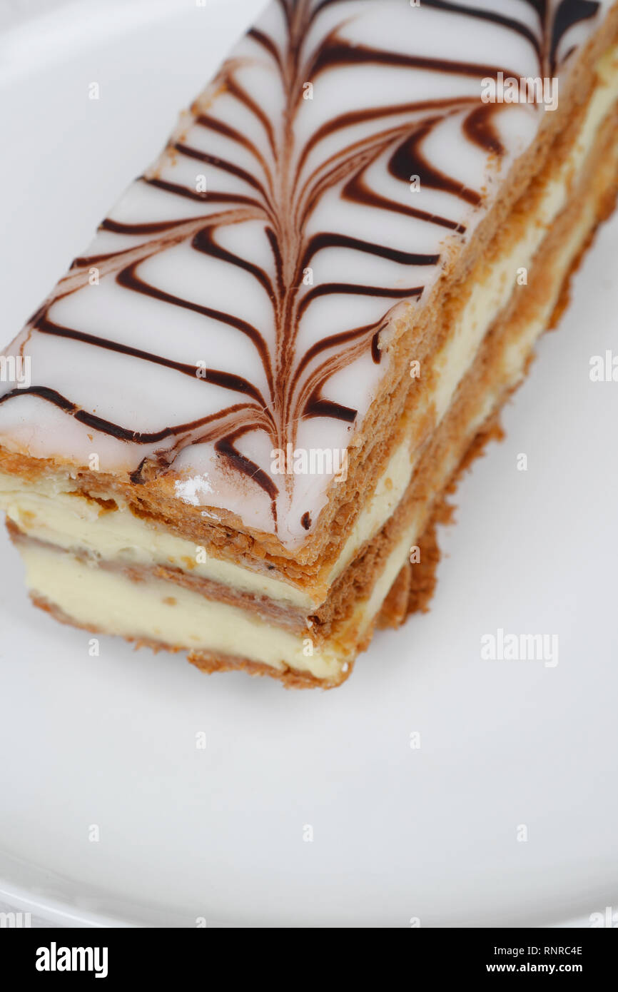 Millefeuilles filled with vanilla cream .Puff pastry desserts. Paris. France - Stock Image
