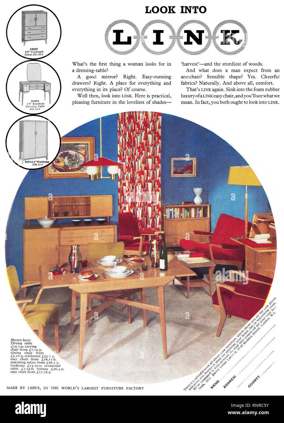 1956 British advertisement for Link Furniture. - Stock Image
