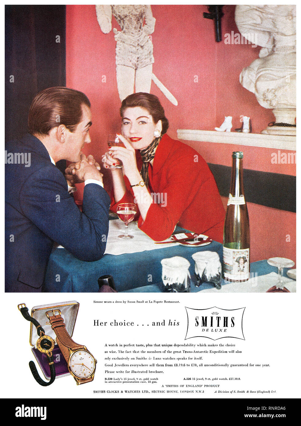 1956 British advertisement for Smiths wristwatches. - Stock Image