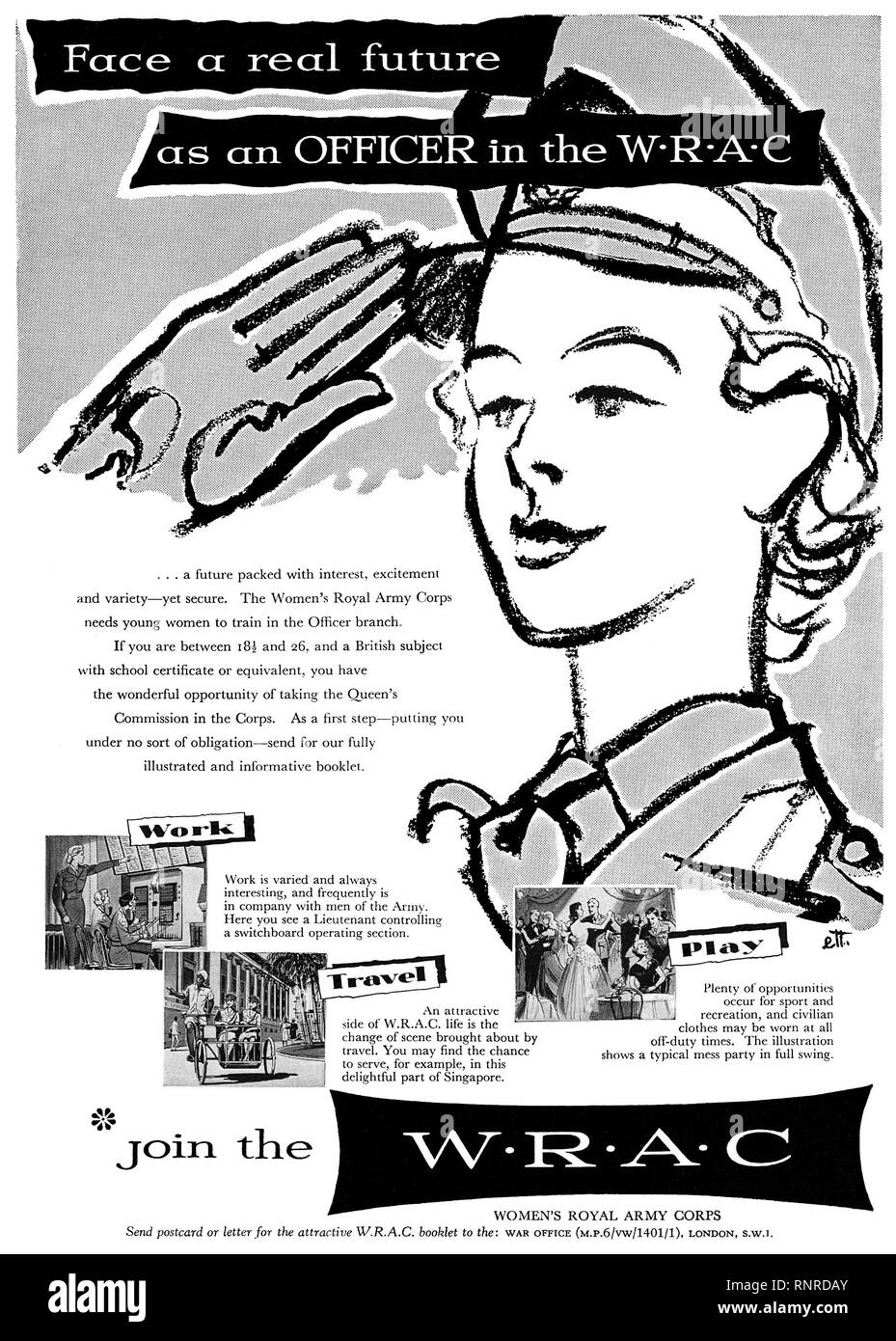 1956 British advertisement for the Women's Royal Army Corps. - Stock Image