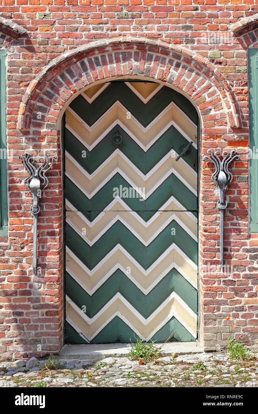 Traditional door in Sankt Peter Ording - Stock Image