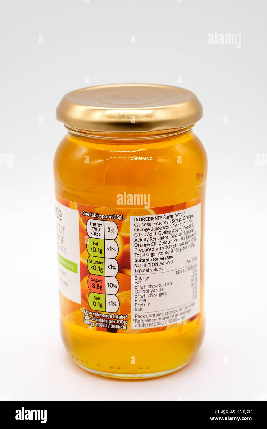 Largs, Scotland, UK - February 19, 2019: Tesco Branded Fine Cut Marmalade with Recyclable Glass Container and top. - Stock Image