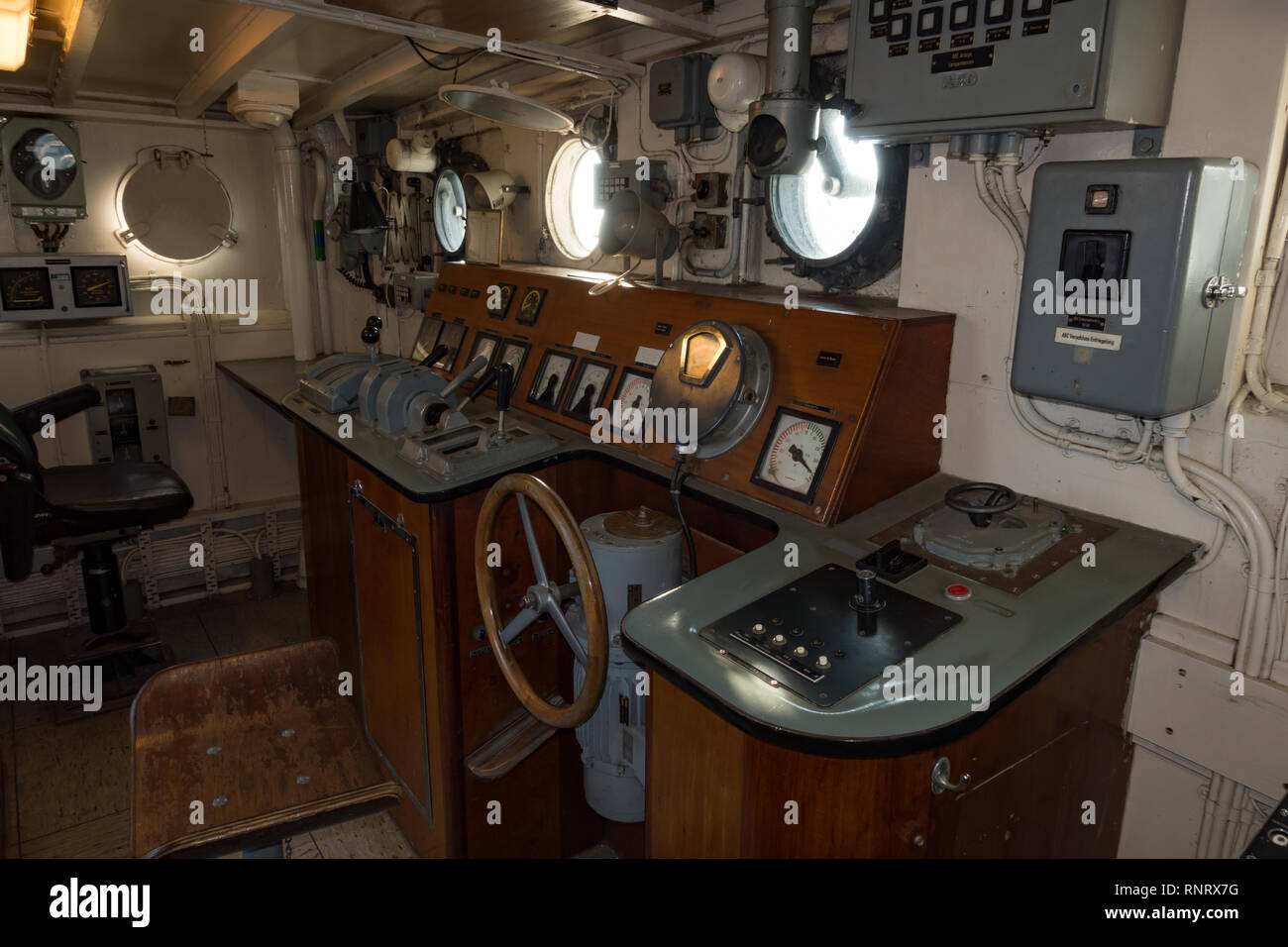 Wheel house of small German Navy vessel in Museum. Wilhelmshaven. Lower Saxony. Germany - Stock Image