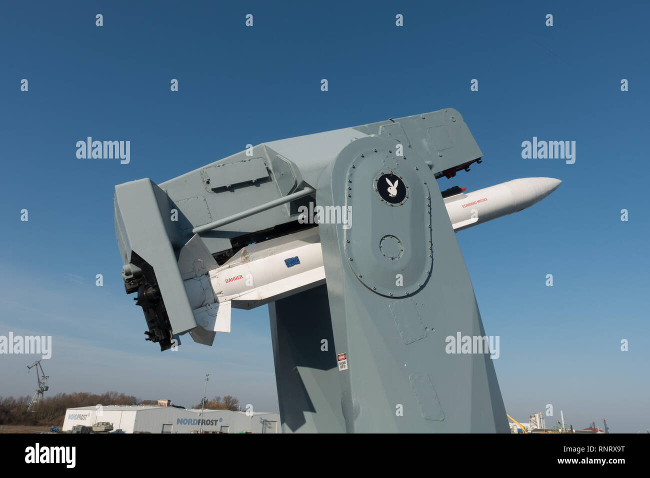 Missile on board the German Navy Destroyer D186. Wilhelmshaven. Lower Saxony. Germany - Stock Image