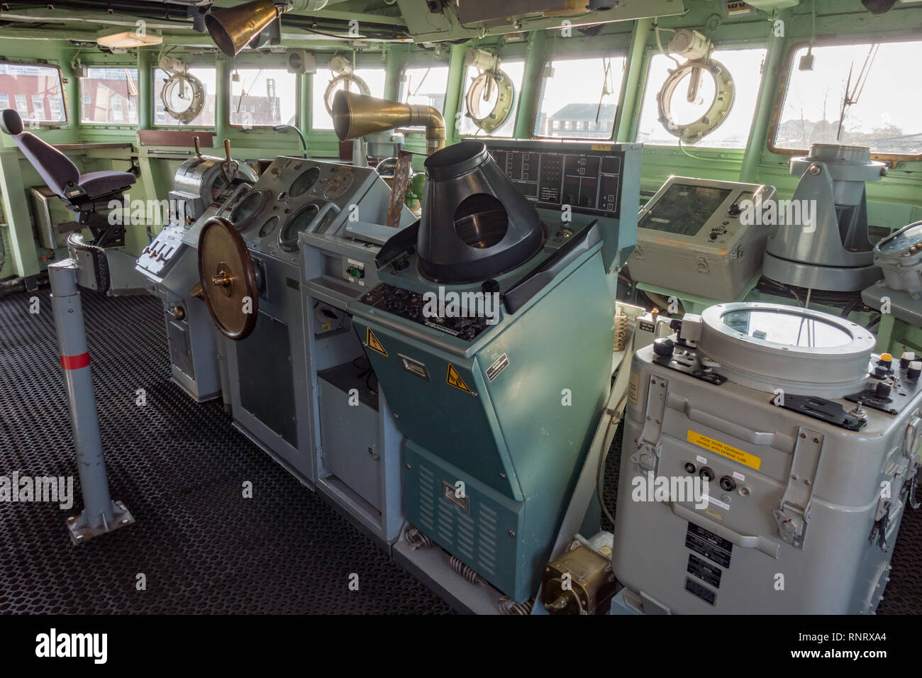 The wheel house of German Navy Destroyer Molders  D186 Wilhelmshaven. Lower Saxony. Germany - Stock Image