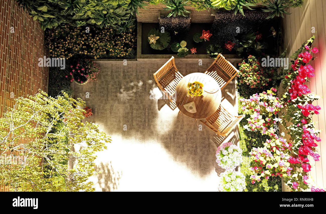 3d render balcony garden - Stock Image