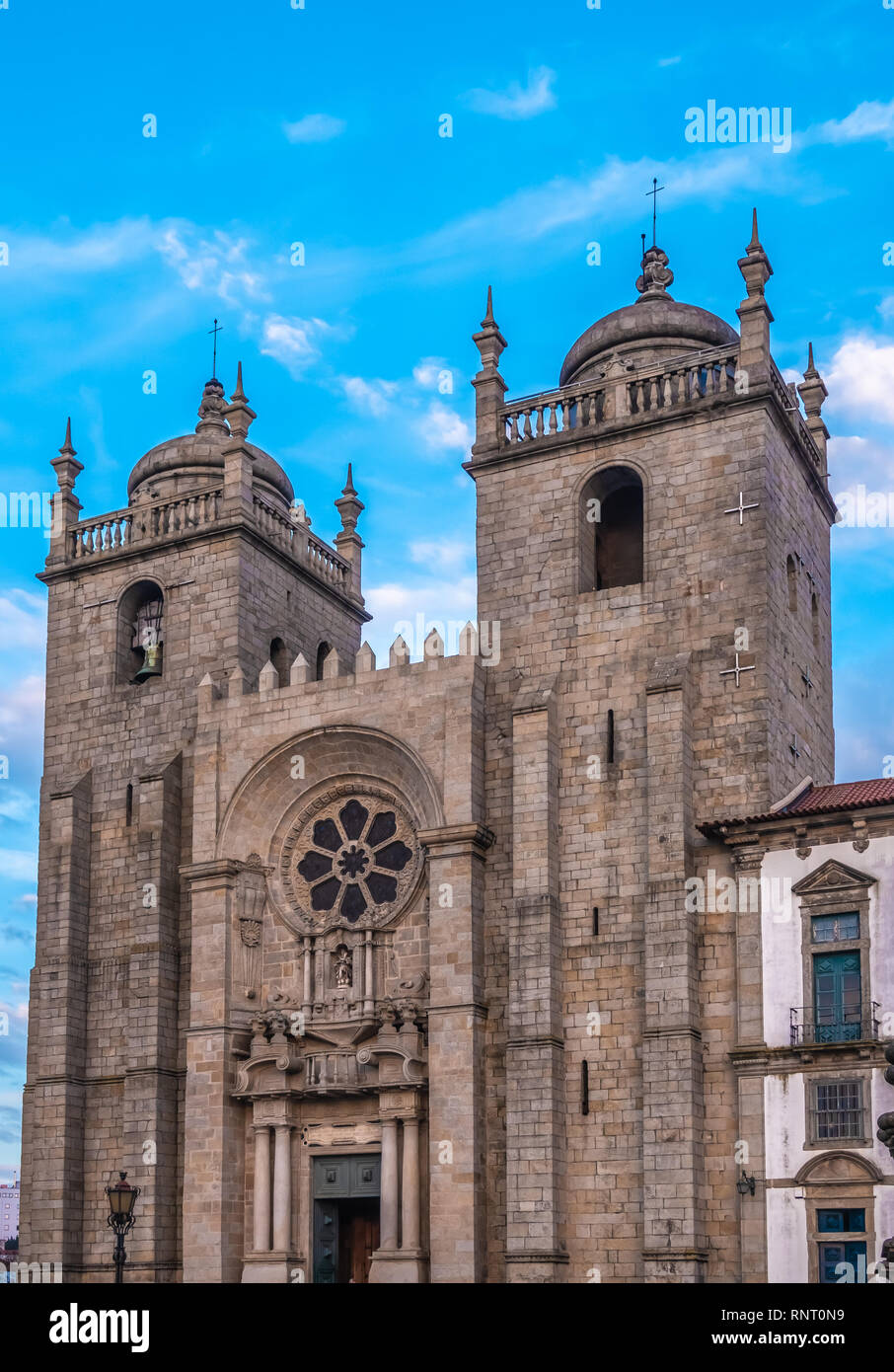 Cathedral of Porto, the second-largest city in Portugal. Located along the Douro river estuary in Northern Portugal. Its historical core is a UNESCO W - Stock Image