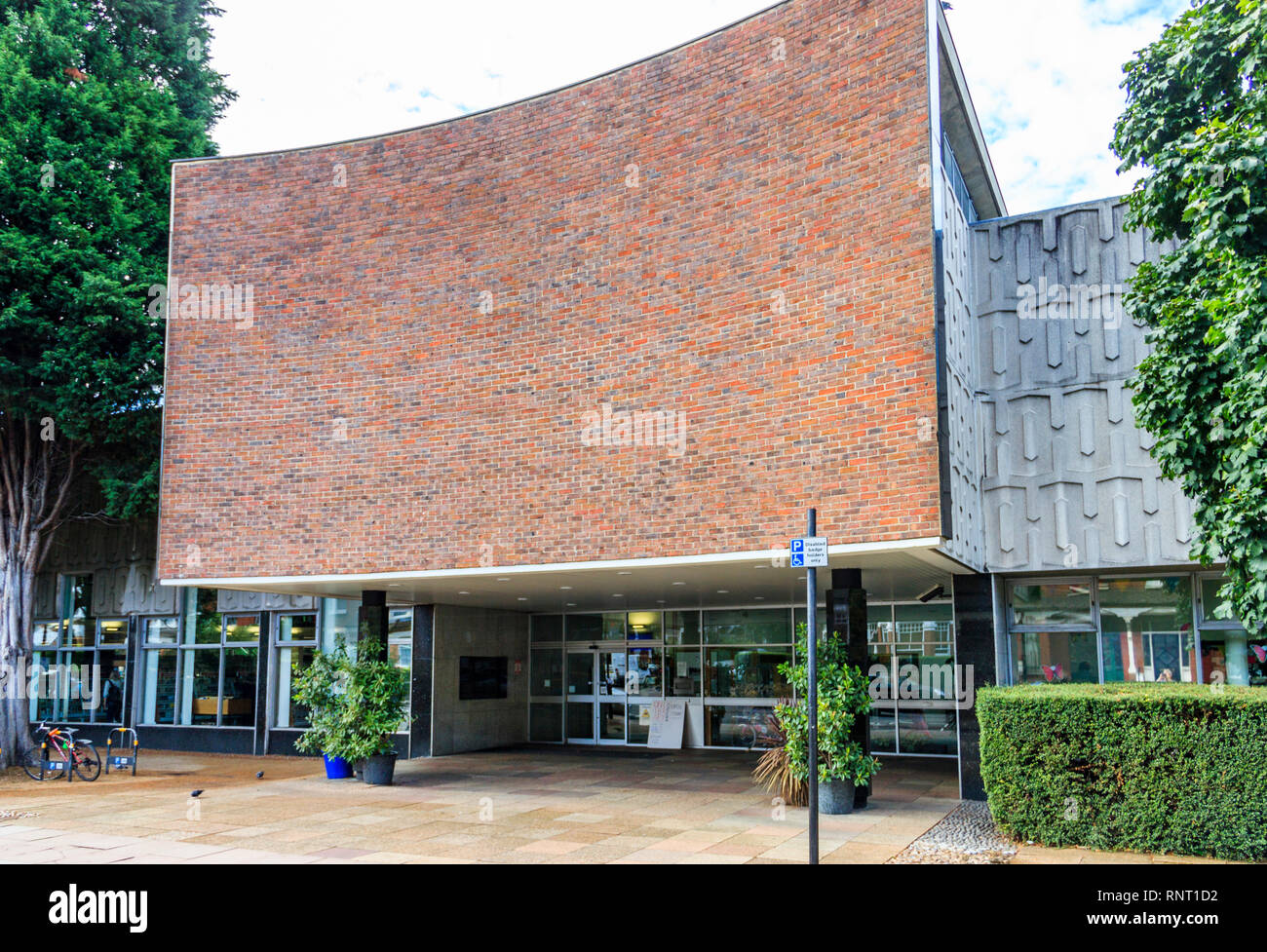 The entrance of Hornsey Library in Crouch End, North London, UK - Stock Image