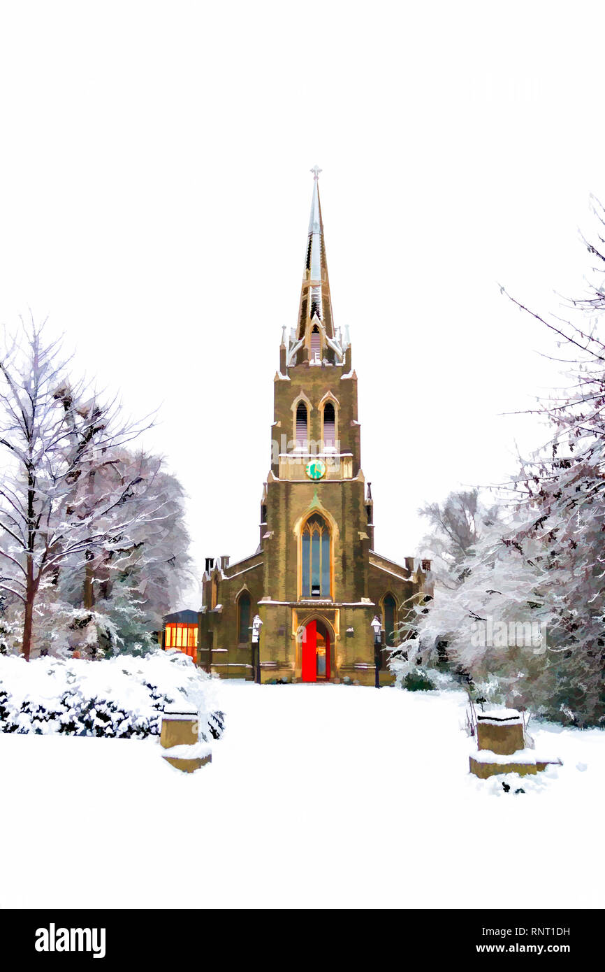 Christmas-card style painterly image of St Michael's Church in the snow, South Grove, Highgate Village, London, UK - Stock Image
