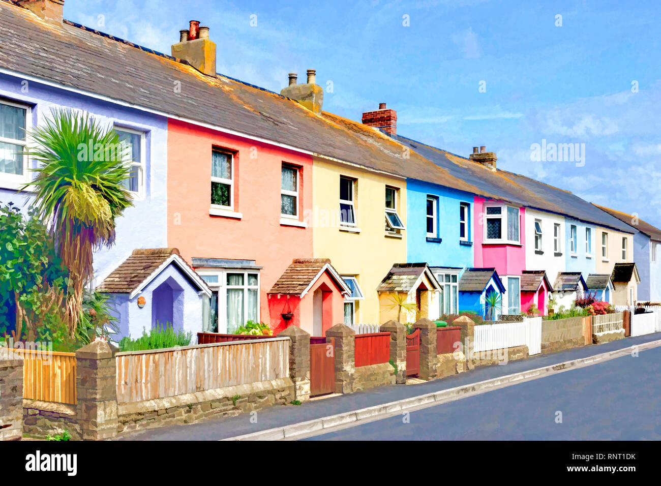 Stylised painterly image of a row of brightly-painted terraced cottages in an English seaside town - Stock Image
