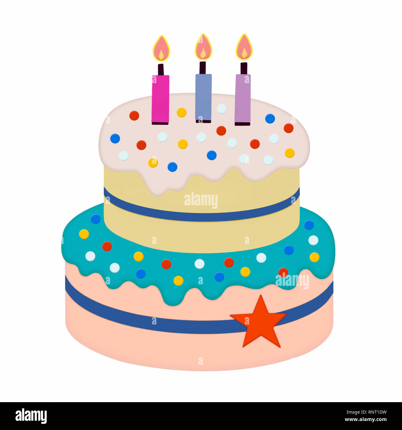 Illustration of a multicoloured two-tier iced birthday cake with three lit candles, ideal for for a menu, confectionery catalogue or party invite - Stock Image