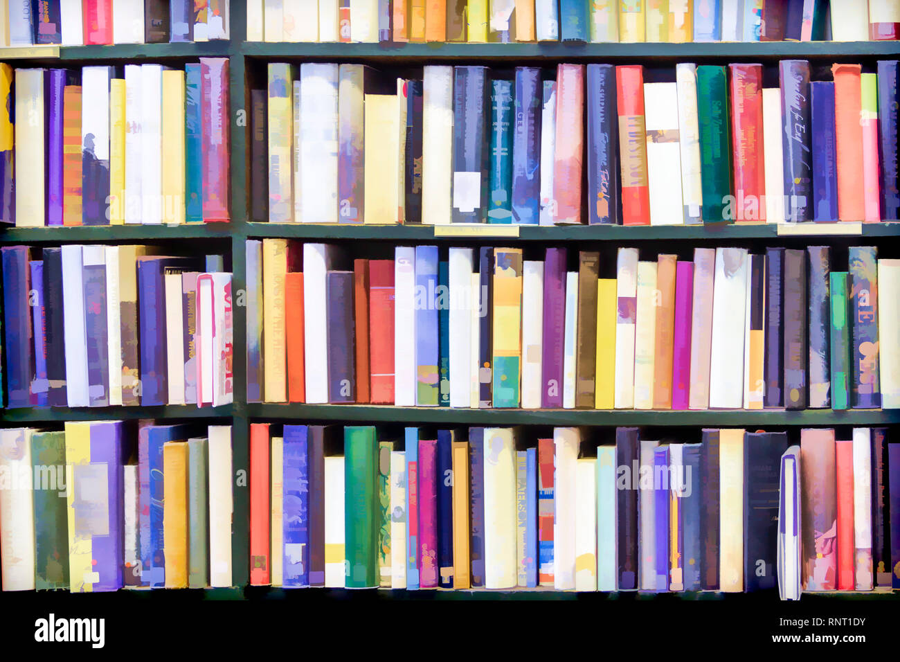 Abstract painterly image of multicoloured books stacked tightly on a library bookshelf, the titles obscured Stock Photo