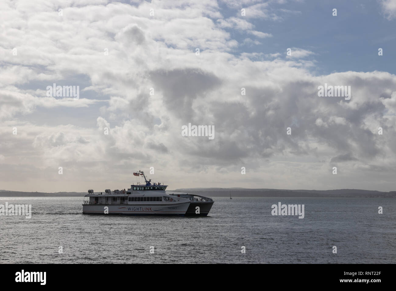 Wightlink Fast Cat at sea, Southsea, Portsmouth, Hampshire Stock Photo