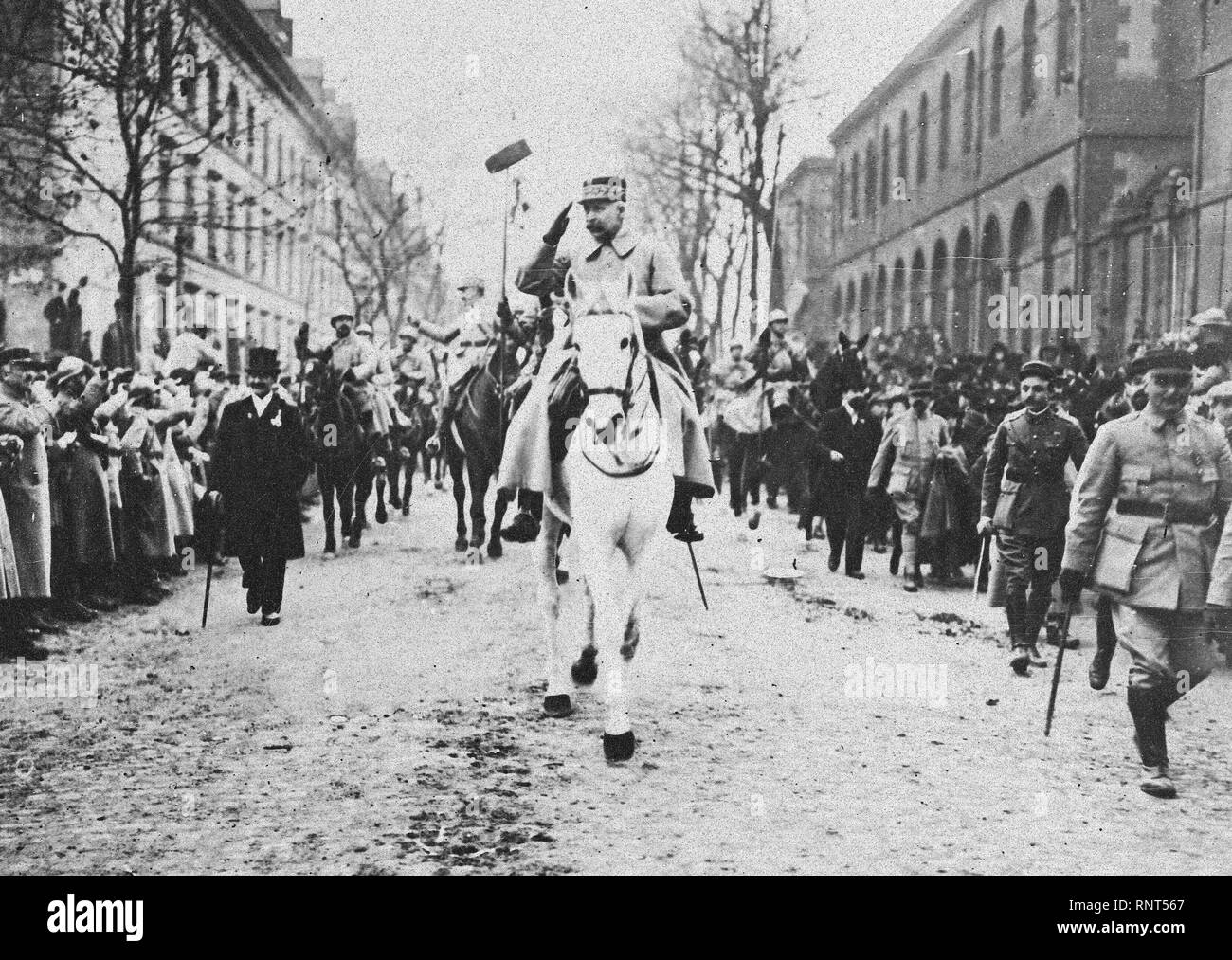 General Petain leads victorious French Armies into the city of Metz - Stock Image