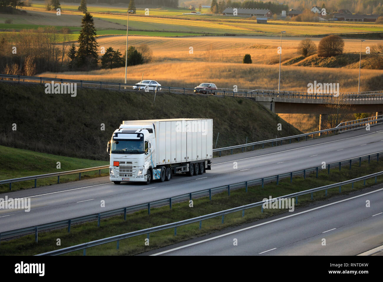 Salo, Finland - November 18, 2018: White Volvo FH semi trailer