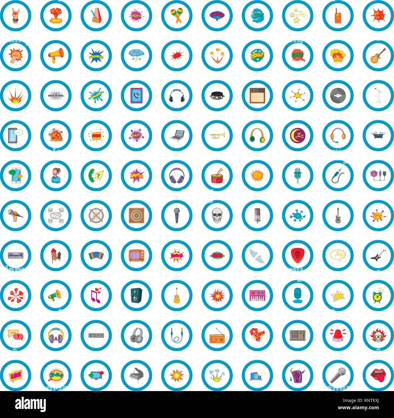 100 audio icons set, cartoon style - Stock Image