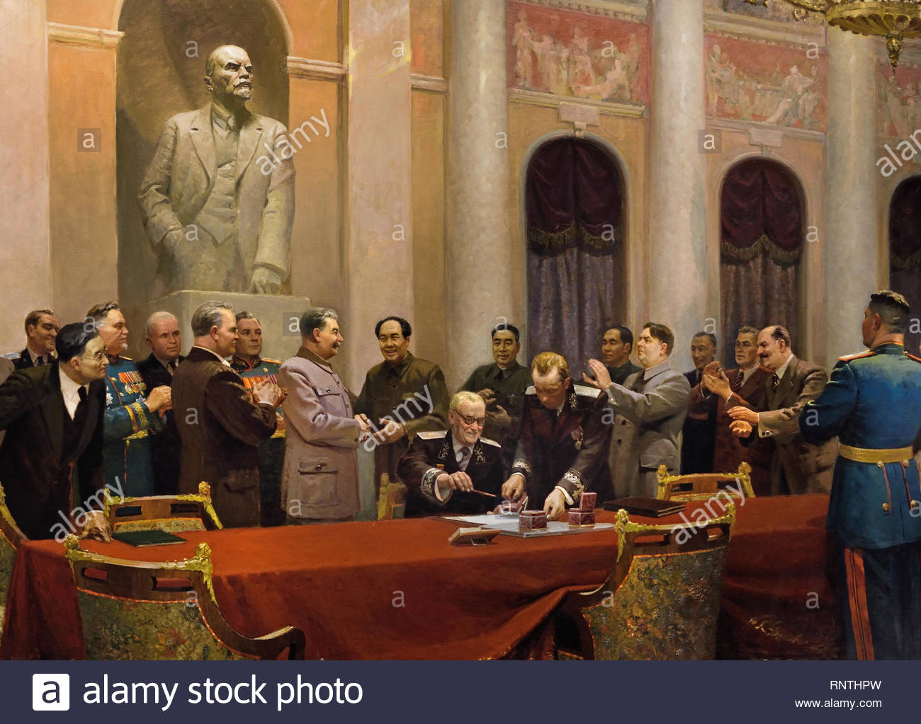 In the Name of Peace (The Signing of the Treaty of Friendship, Union and Mutual Assistance Between the Soviet Union and the People's Republic of China)' - 1950. Brigade leader was Viktor Vikhtinsky, People (standing, left to right): Nikita Khrushchev,  Vyacheslav Molotov, unknown general, Josef Stalin, Mao Tse-Tung, and Chou En-Lai. painter Viktor Vikhtinsky.  Soviet Union Communist Propaganda (Russia under Lenin and Stalin1921-1953 ). - Stock Image