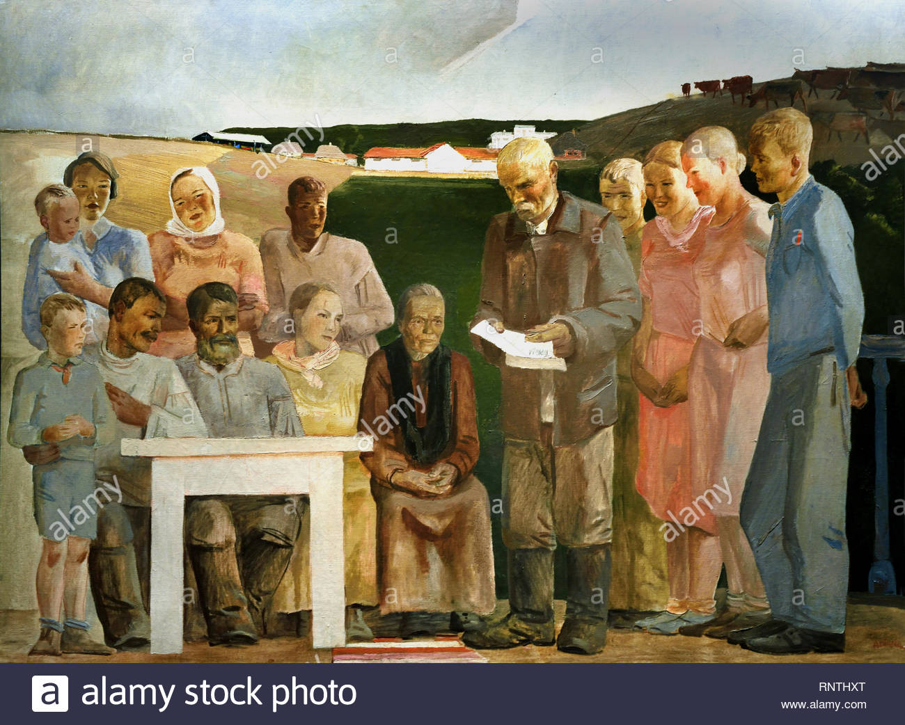 Collective Farm Brigade 1934 by Alexander Deyneka Soviet Union Communist Propaganda (Russia under Lenin and Stalin1921-1953 ). - Stock Image