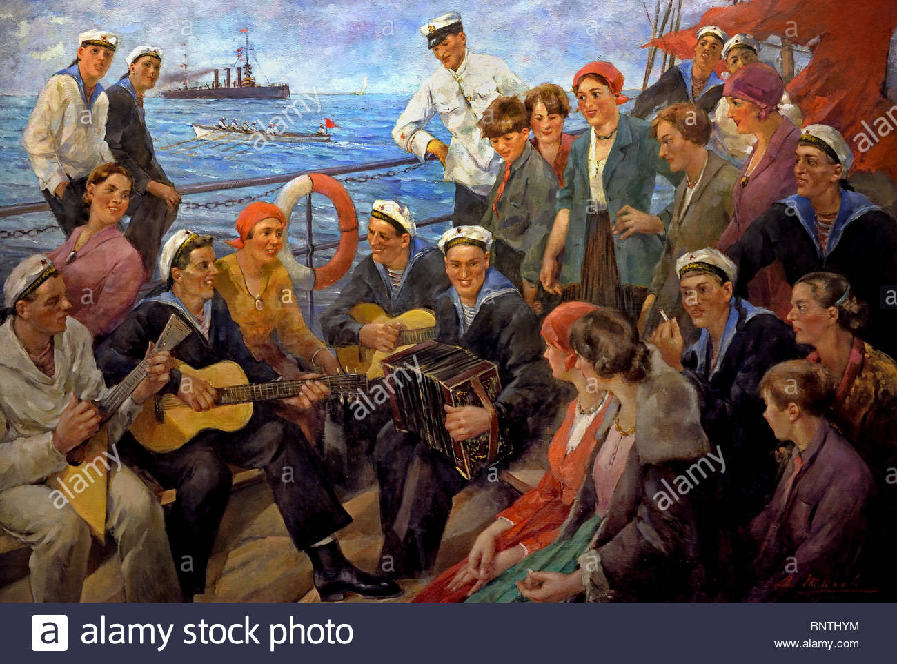 Female workers on a Sponsored Ship of the Baltic Fleet 1934 Vitaly Tikhov Soviet Union Communist Propaganda (Russia under Lenin and Stalin1921-1953 ). - Stock Image