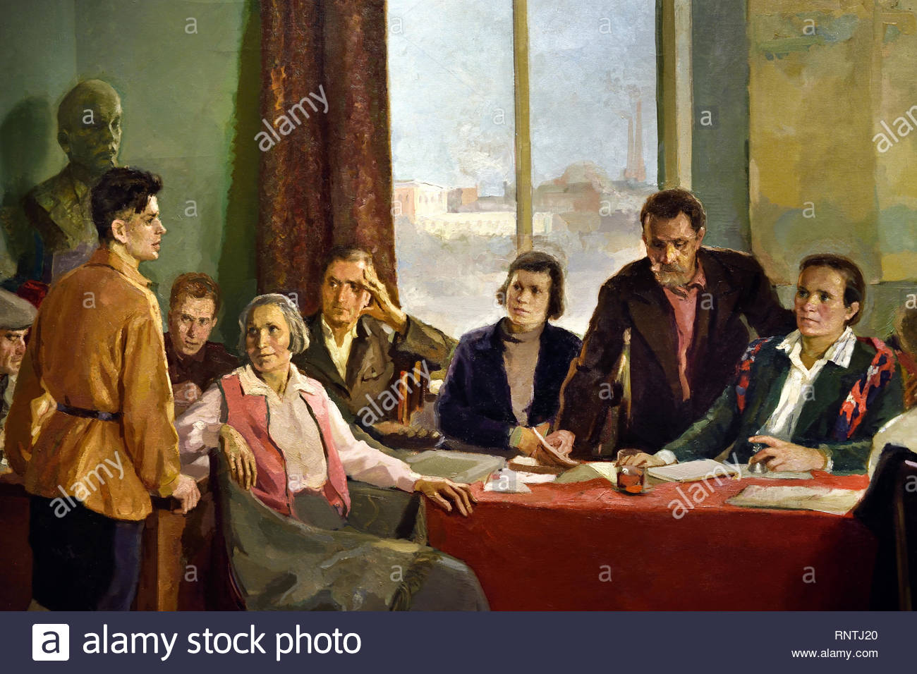 Meeting of a Factory Party Committee 1937 Ilya Lukomsky Soviet Union Communist Propaganda (Russia under Lenin and Stalin1921-1953 ). - Stock Image