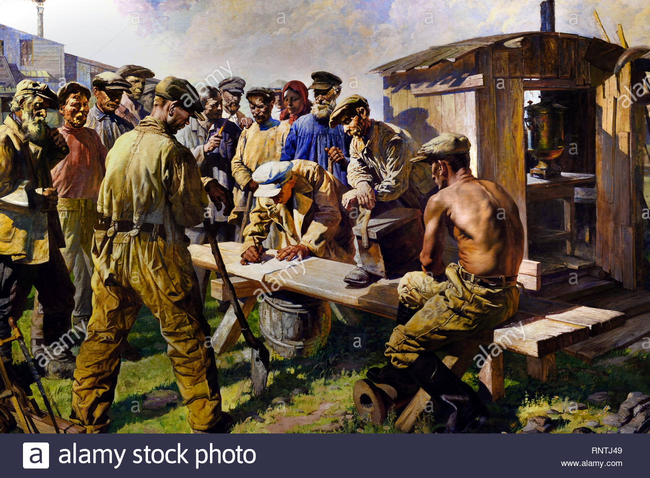 Prospectors Writing a Letter to the Creator of the Great Constitution 1937 by Vasily Yakovlev, Soviet Union Communist Propaganda (Russia under Lenin and Stalin1921-1953 ). - Stock Image