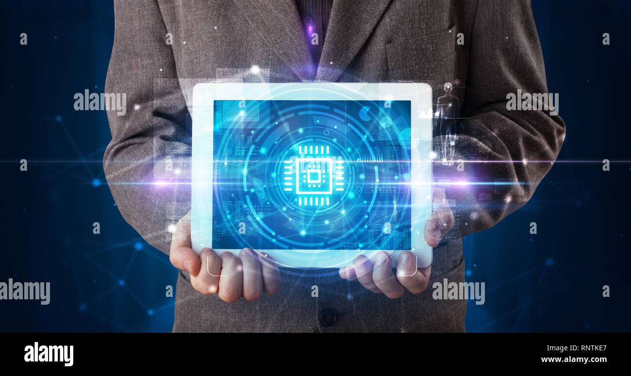 Hand holding tablet with online security and data protection concept  - Stock Image