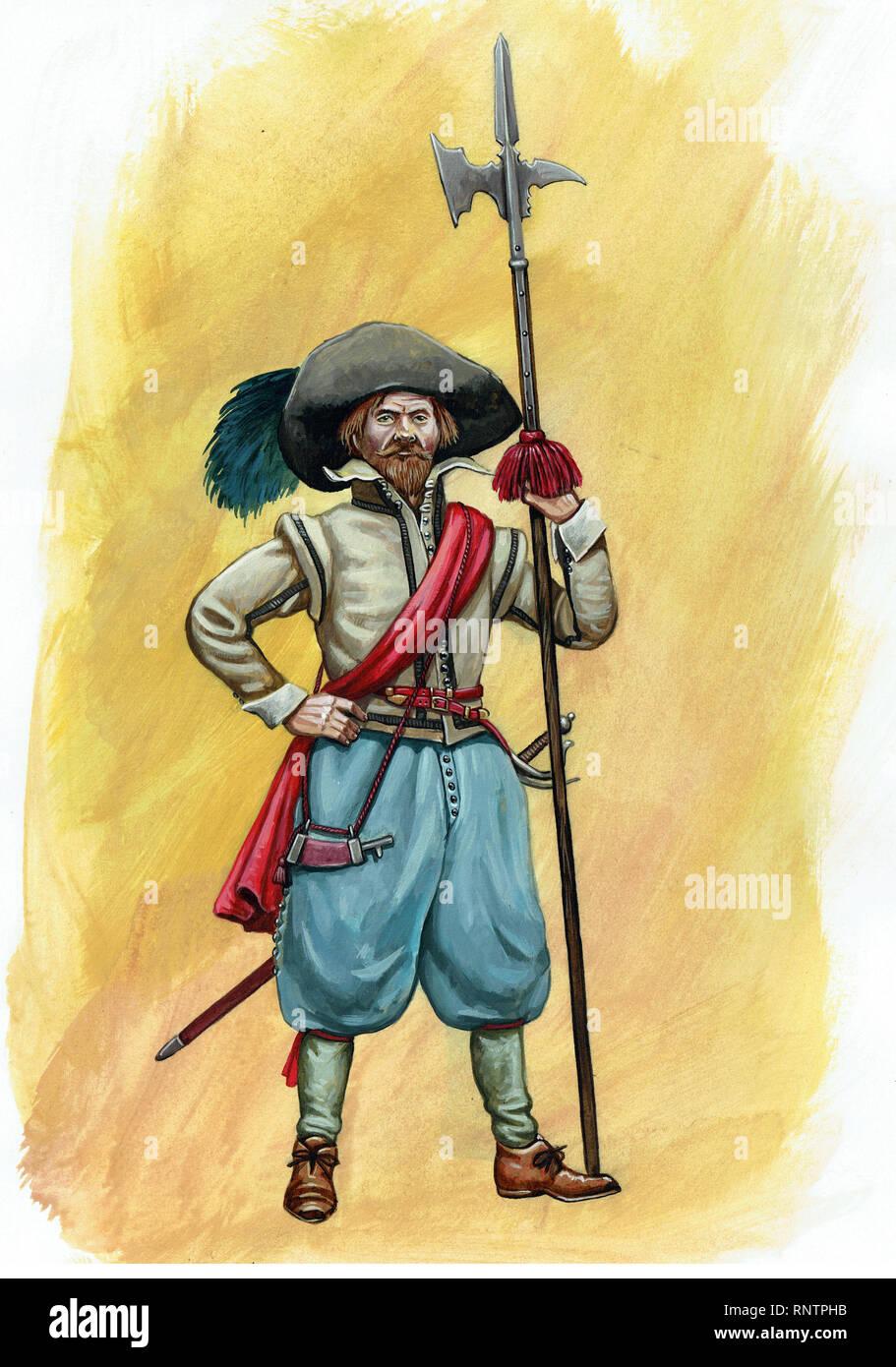 Dutch halberd bearer illustration. Medieval soldier with halberd picture. - Stock Image