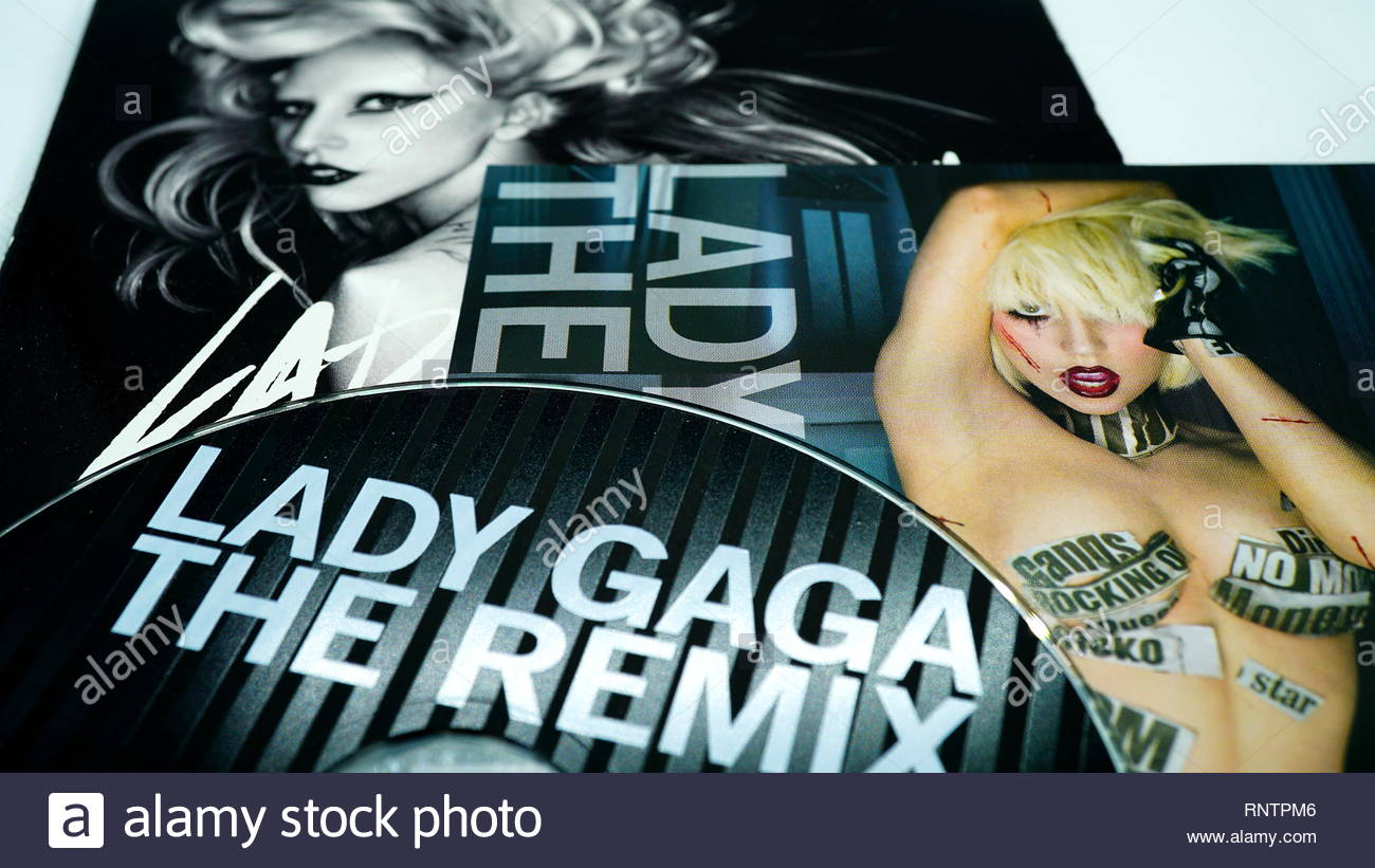 Rome, February 16, 2019: Detail of CD covers and inserts by the American singer LADY GAGA. singer, songwriter, and actress. She is known for her uncon - Stock Image