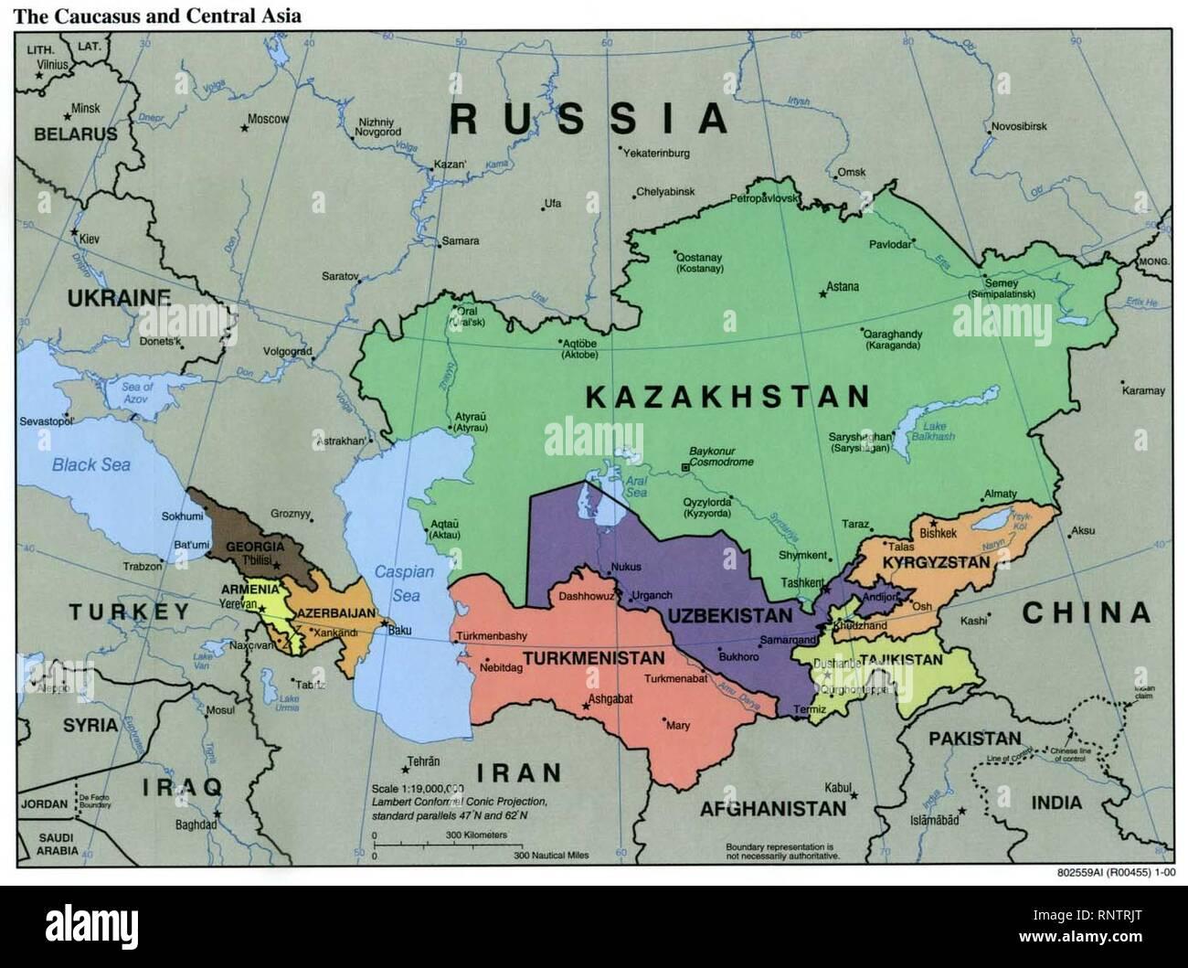 Asia Politica Cartina.Caucasus Central Asia Political Map 2000 Stock Photo