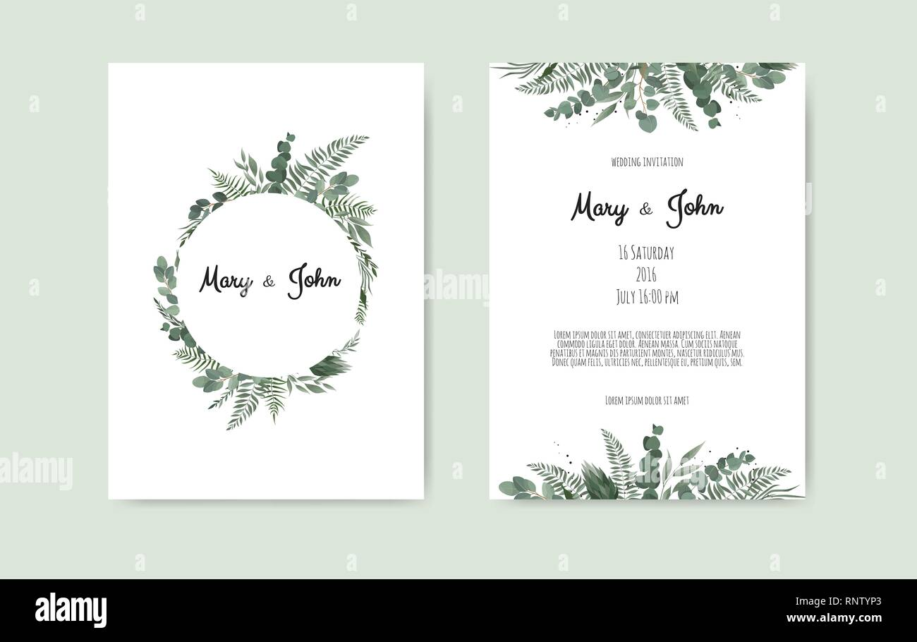 Botanical Wedding Invitation Card Template Design White And