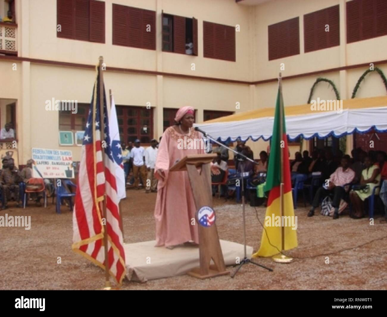 Celestine Ketcha Courtes at Peace Corps ceremony. - Stock Image