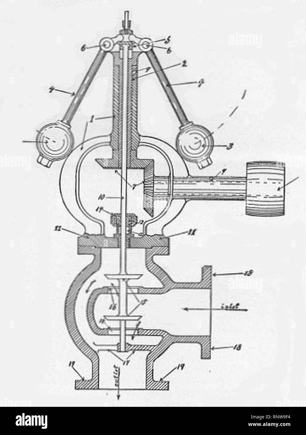 Centrifugal governor and balanced steam valve (New Catechism of the Steam Engine, 1904). - Stock Image