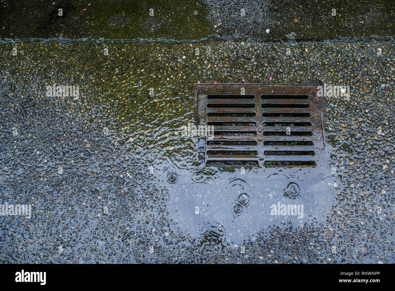 A stormwater runoff drain in a concrete street. - Stock Image