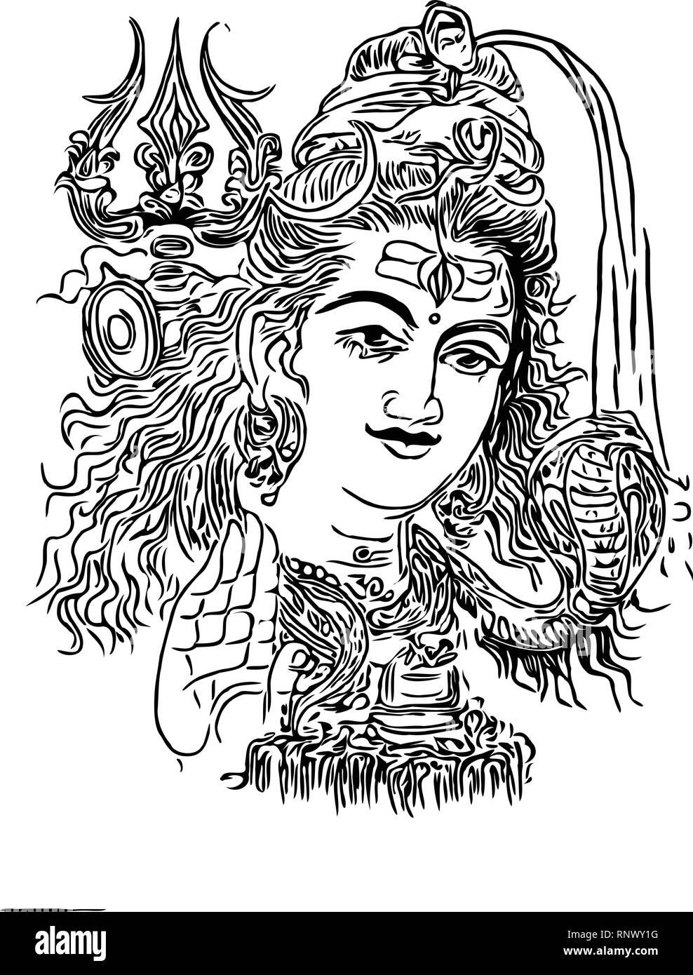 illustration of Lord Shiva, Indian God -Vector - Stock Image