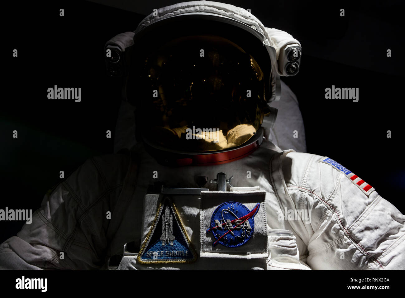 NASA astronaut suit on display in the Minolta Gallery, Shinjuku, Tokyo, Japan Friday January 31st 2014 - Stock Image