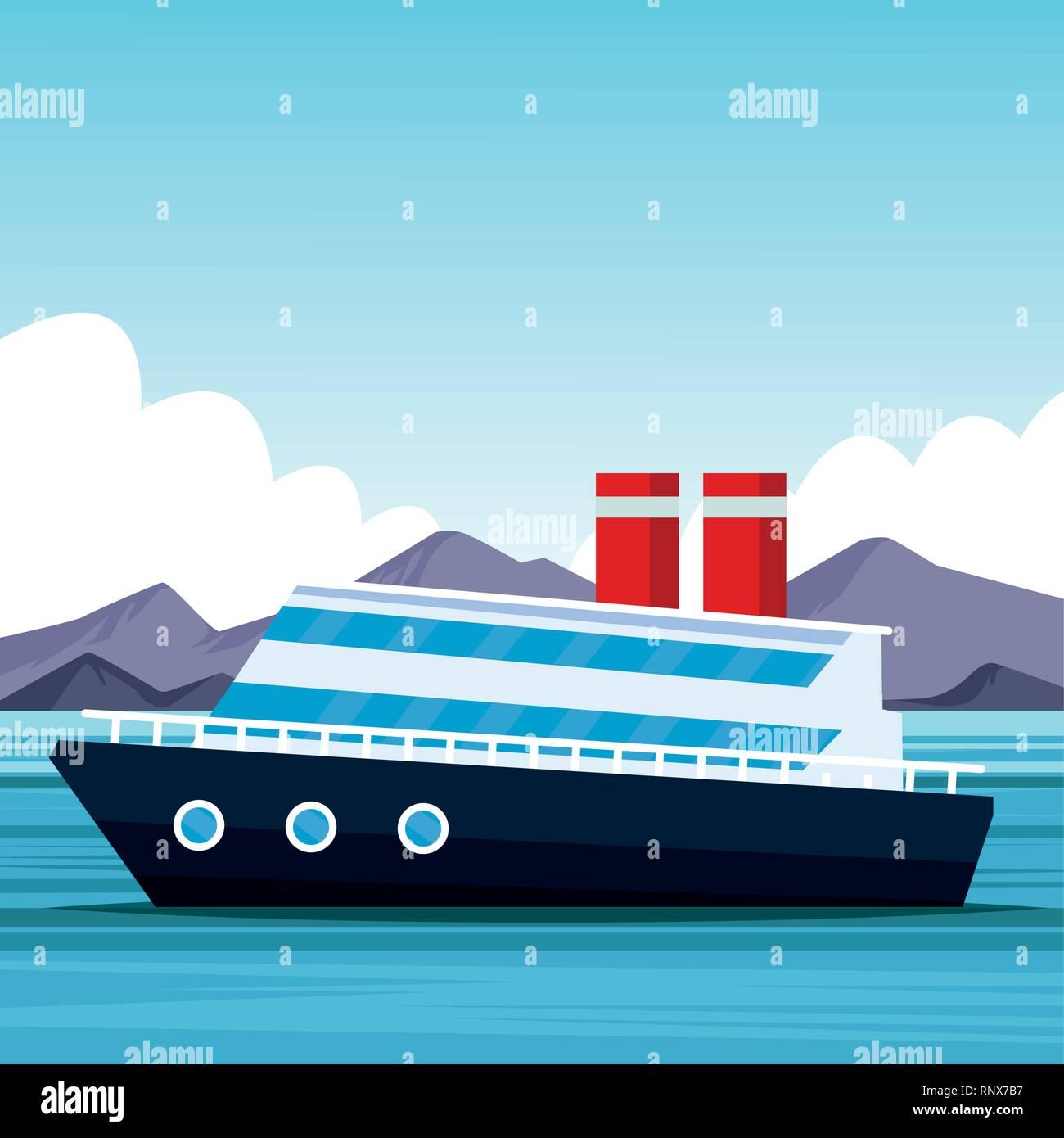 Cruise Ship Cartoon Stock Vector Image Art Alamy
