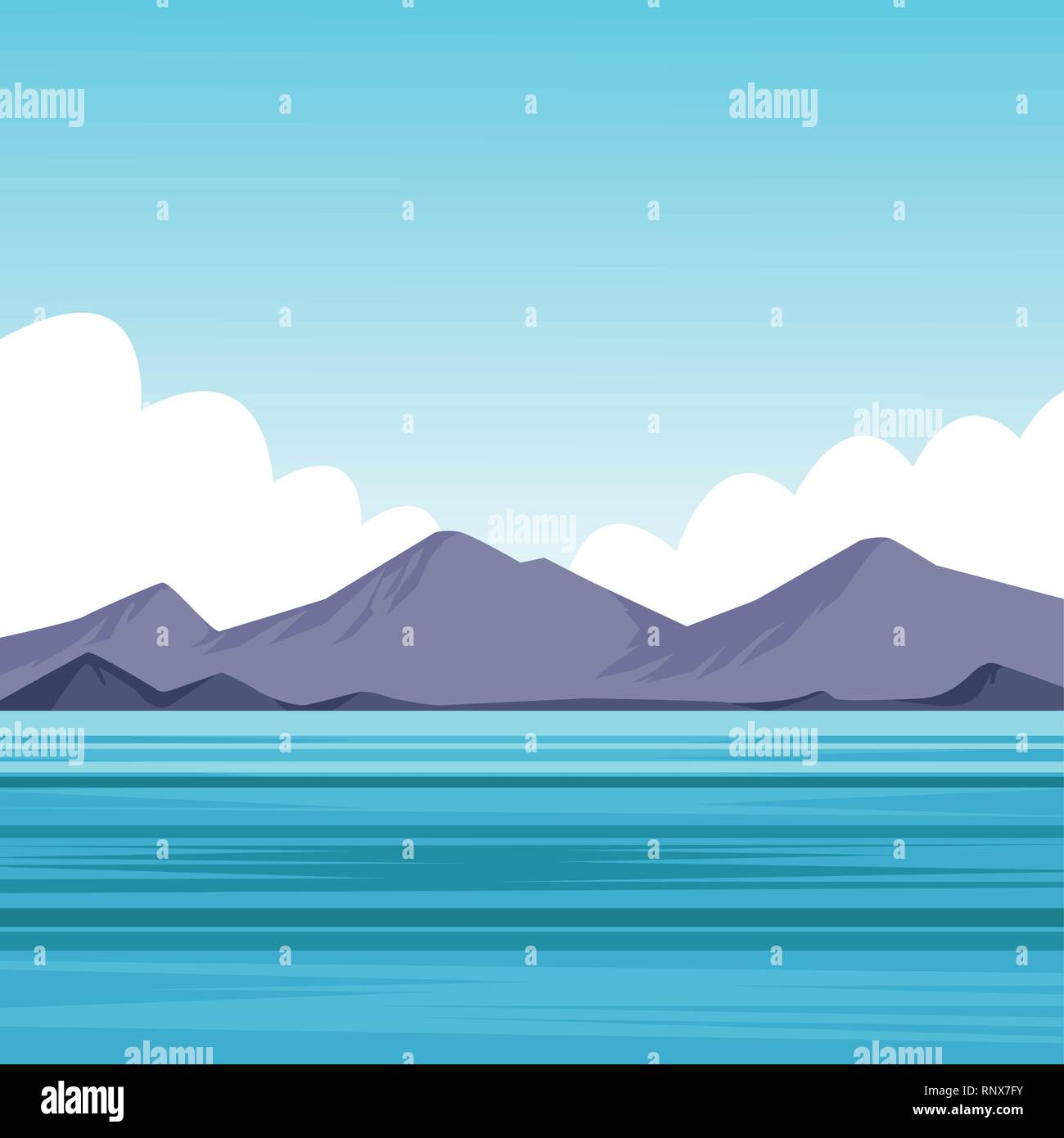 flat sea landscape cartoon - Stock Image
