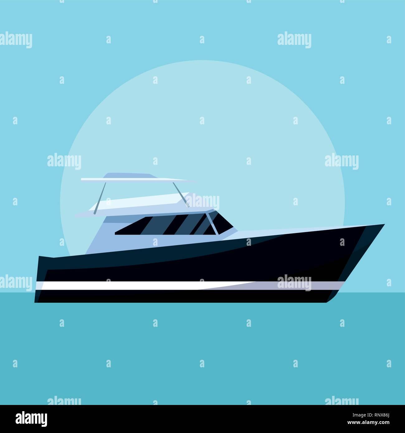 yacht boat cartoon - Stock Image