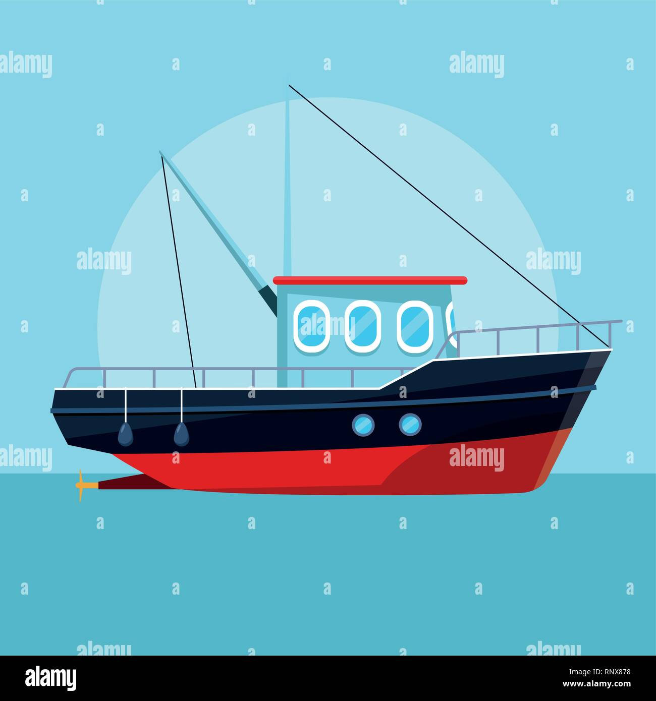 fishing boat cartoon - Stock Image