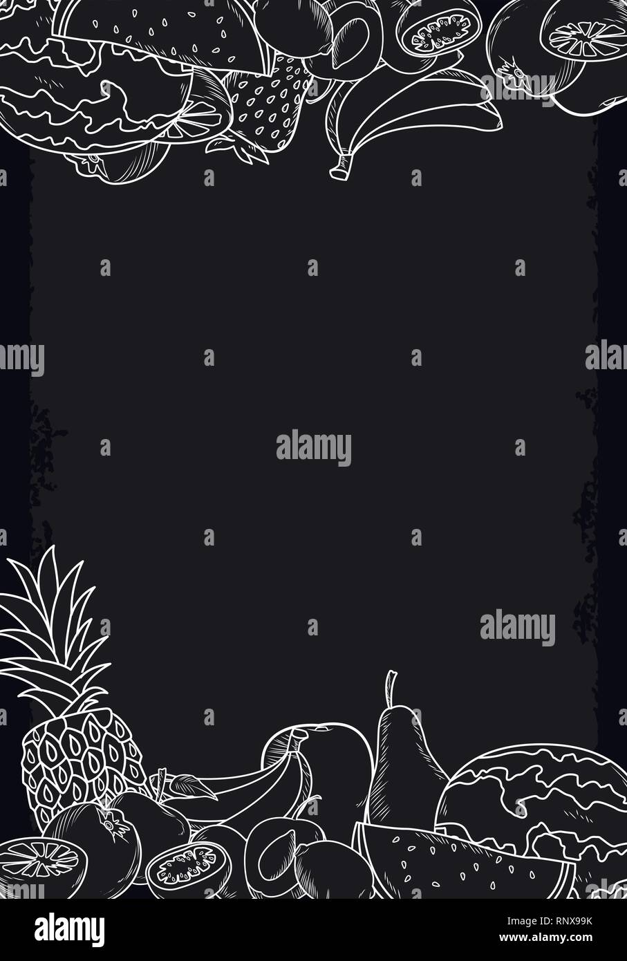 hand drawn fruits - Stock Image