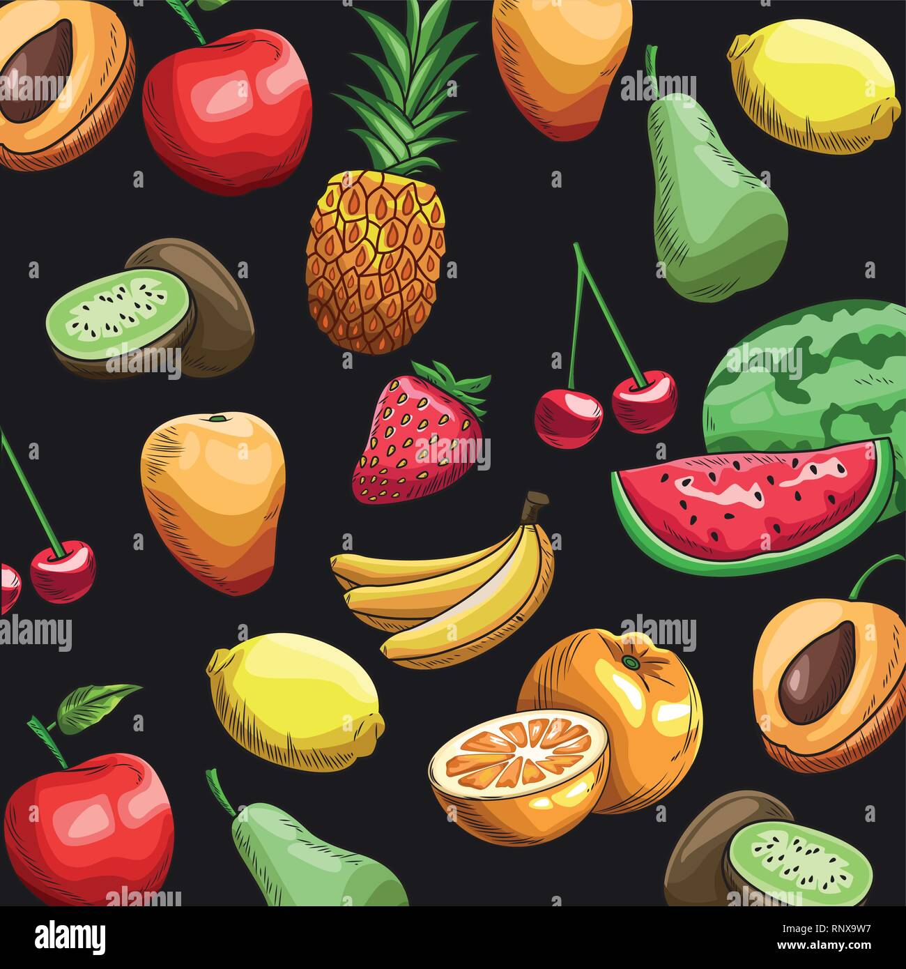 Hand Drawn Fruits Wallpaper Stock Vector Image Art Alamy