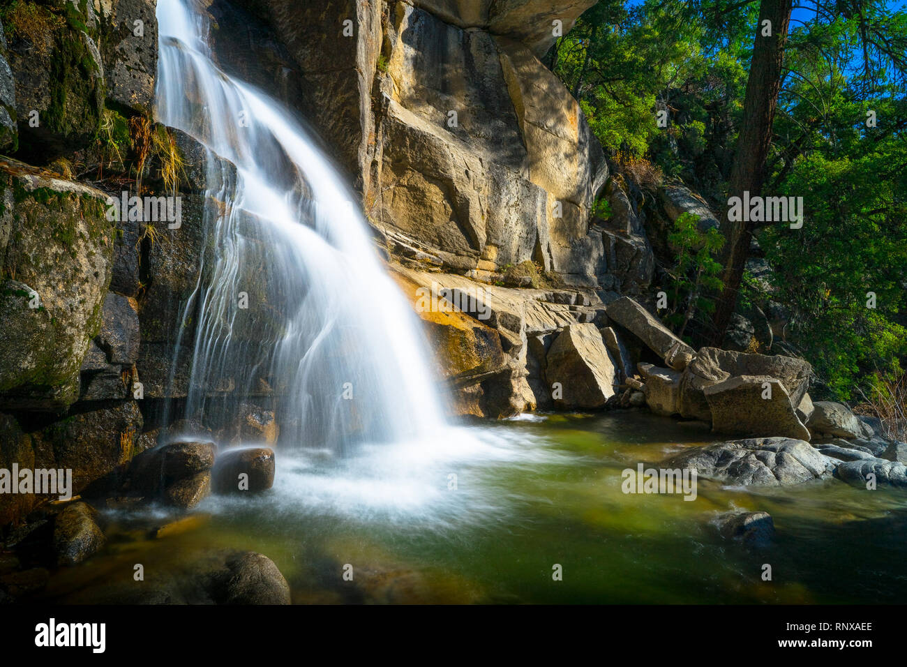 Waterfall Landscape in Yosemite - Cascade & Tamarack Creeks - California Stock Photo