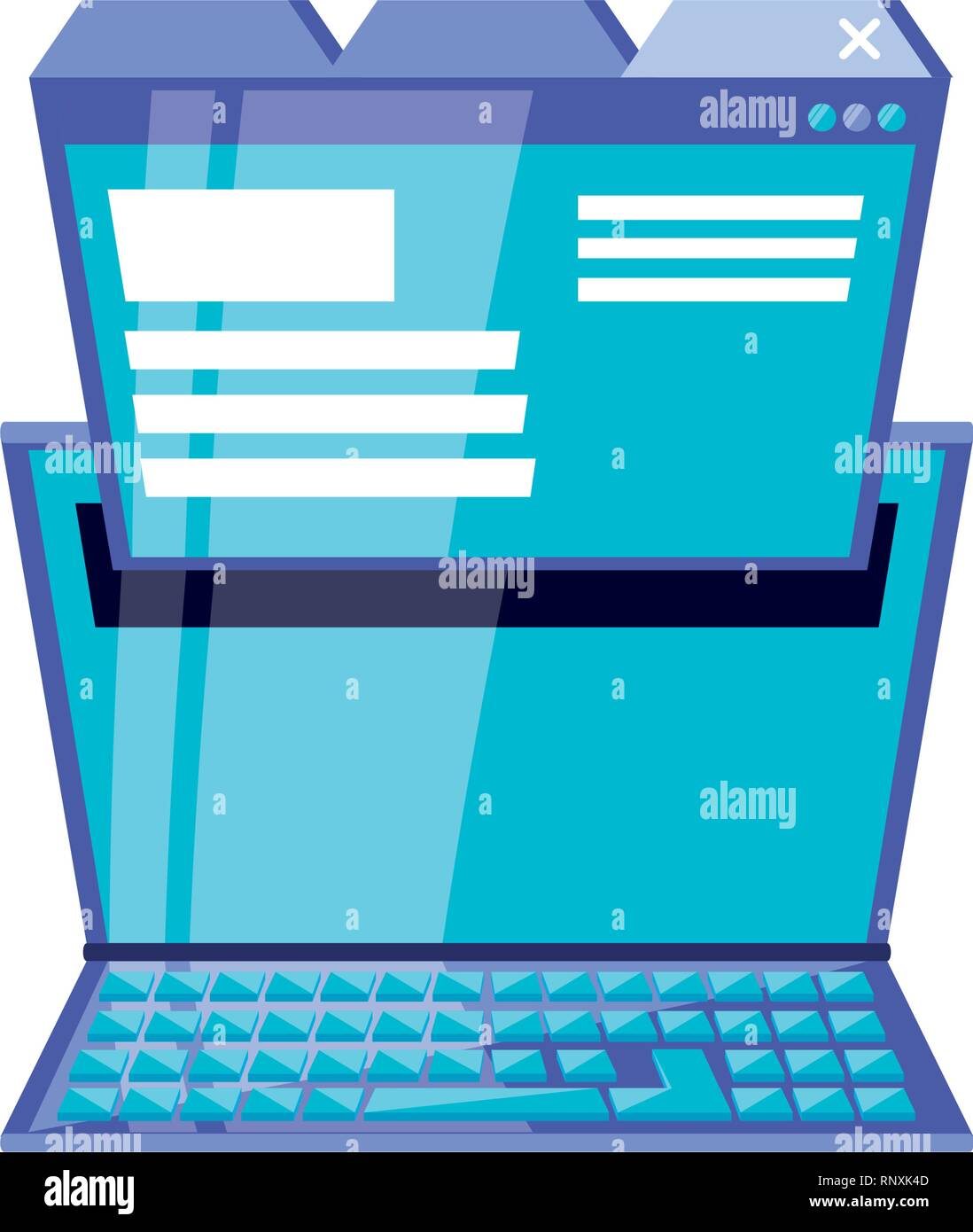 laptop computer with web page vector illustration design - Stock Image