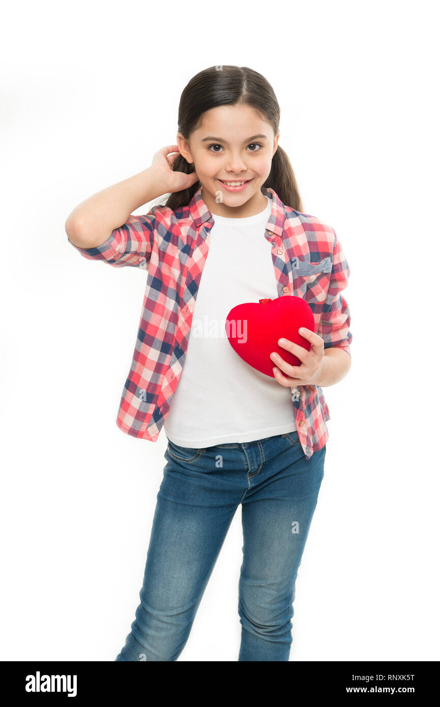 Having heart problem and heartache. Little girl holding red heart. Little child expressing love on valentines day. Cute girl in love. Happy valentines day. Feeling heart rhythm. - Stock Image
