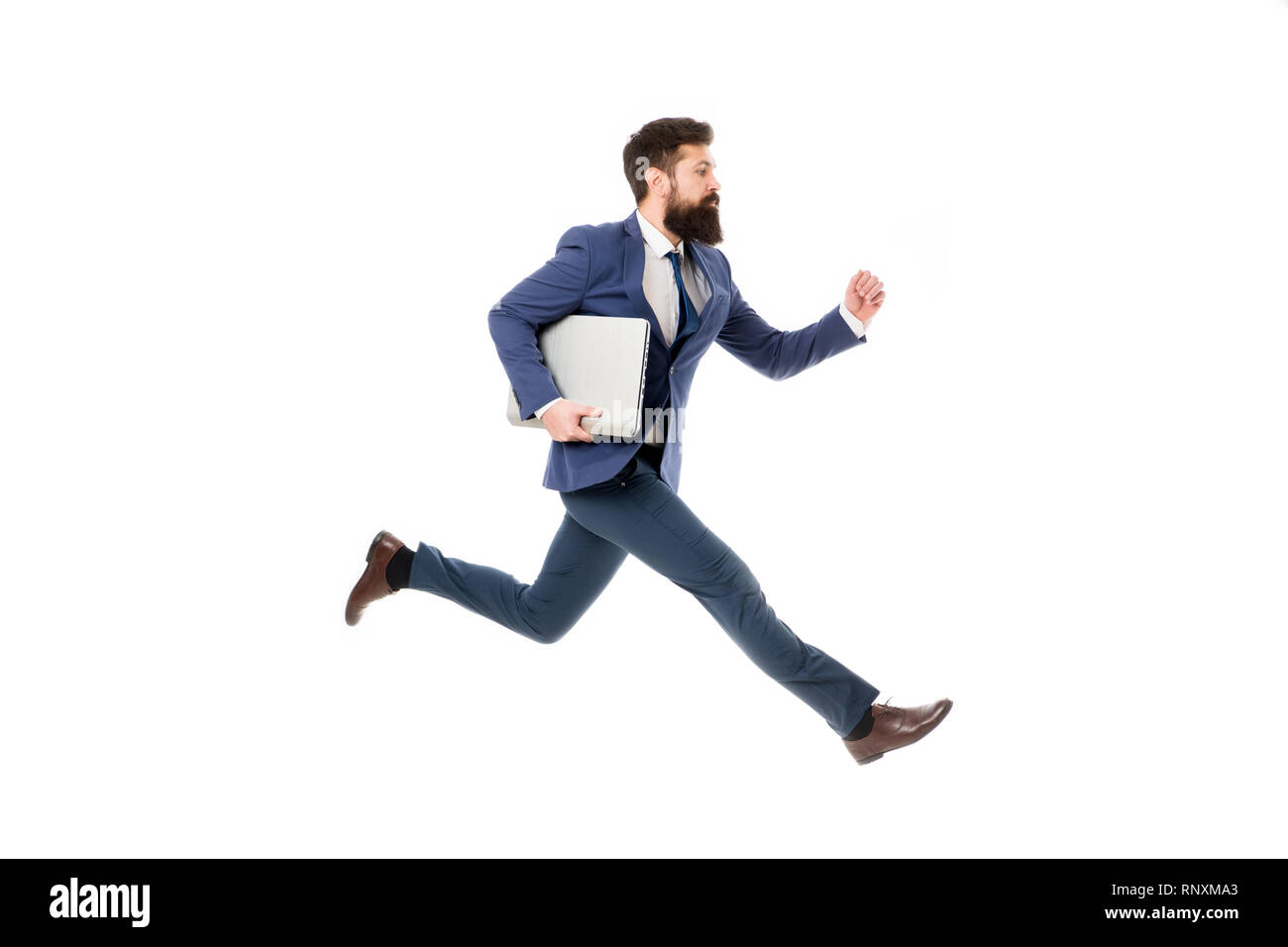 Towards success. Inspiring innovations. Businessman inspired guy feel powerful going to change world. Man inspired hold laptop while jump. Follow your dream. Keep moving. Inspired for start up. - Stock Image
